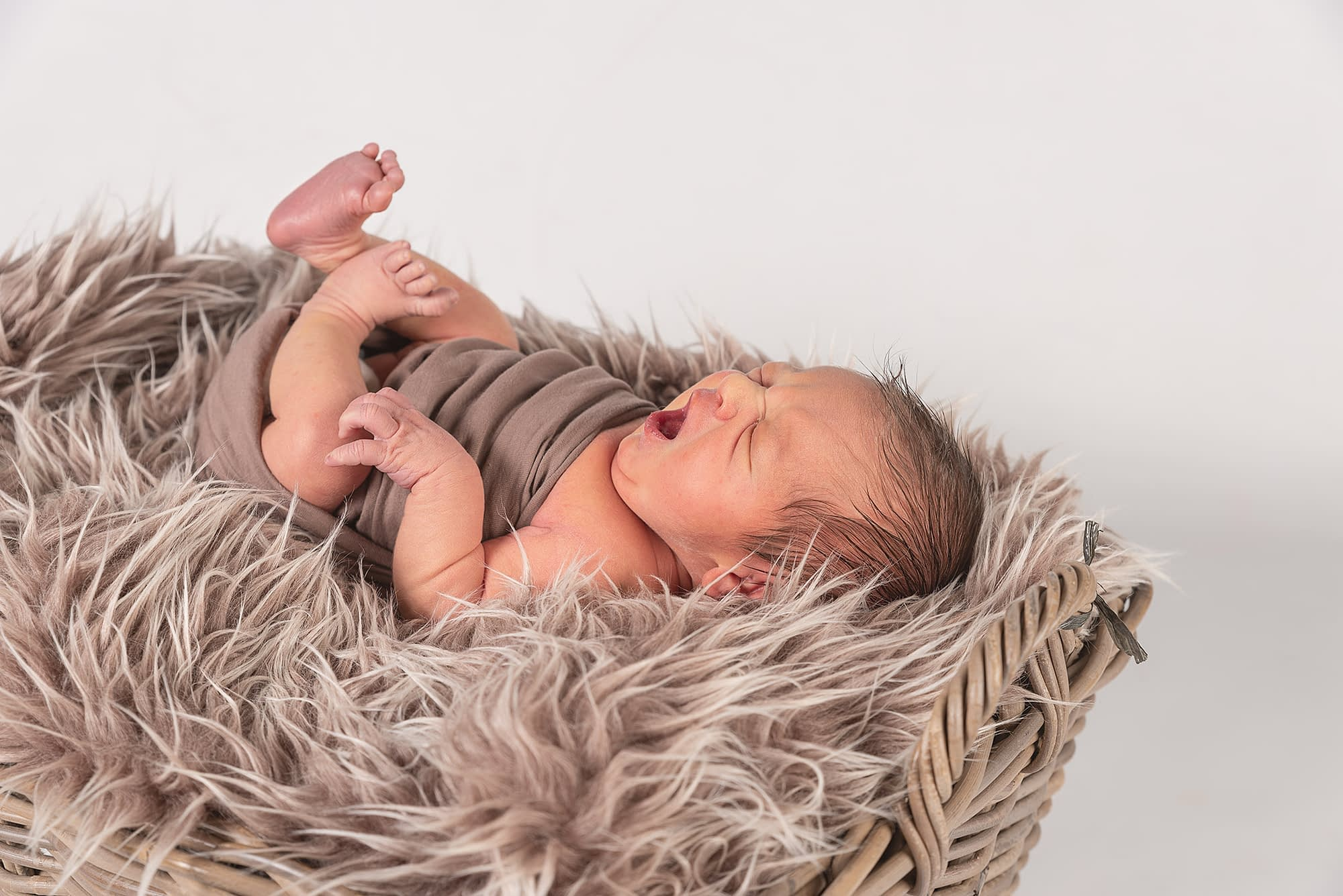 Brown fury blanket in a wicker basket with a newborn baby boy laying on his back wrapped in a brown fabric with feet and arms showing. Baby is yawning and the background is white